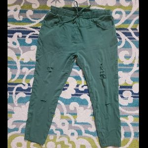 Shein Green Stretch drawstring pants